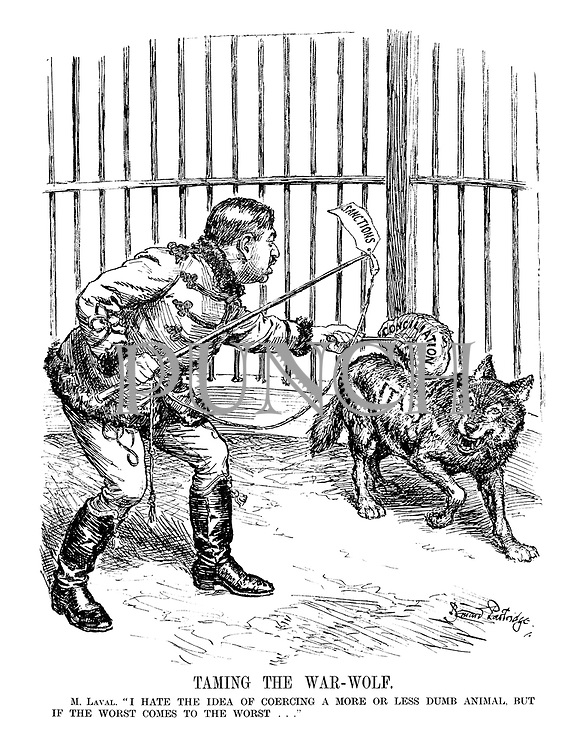 "Taming the War-Wolf. M. Laval. "" I hate the idea of coercing a more or less dumb animal, but if the worst comes to the worst..."" (Pierre Laval tames the Italian wolf with a Sactions whip and a Conciliation duster)"