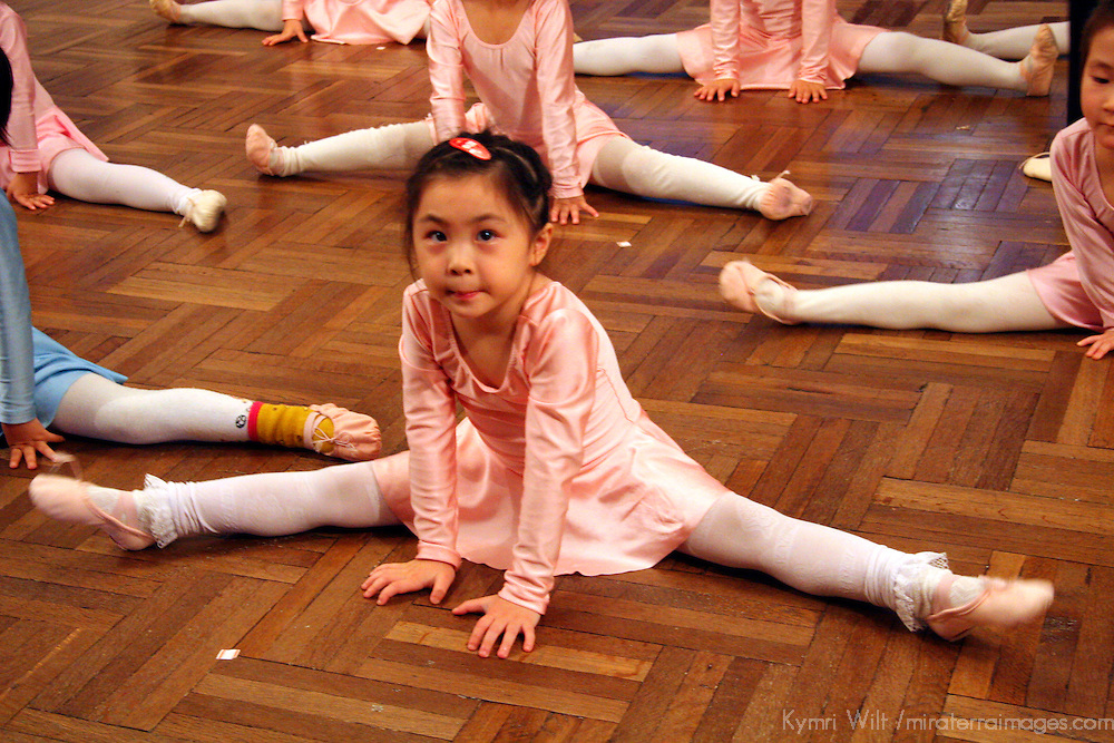 Asia, China, Shanghai. A ballet class at The Children's Palace, where Chinese youth study the traditional and cultural arts.