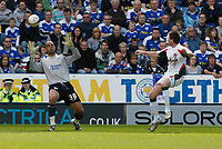 Photo: Steve Bond/Richard Lane Photography. Leicester City v Carlisle United. Coca Cola League One. 04/04/2009. Michael Bridges (R) chips onrushing keeper Tony Warner to score