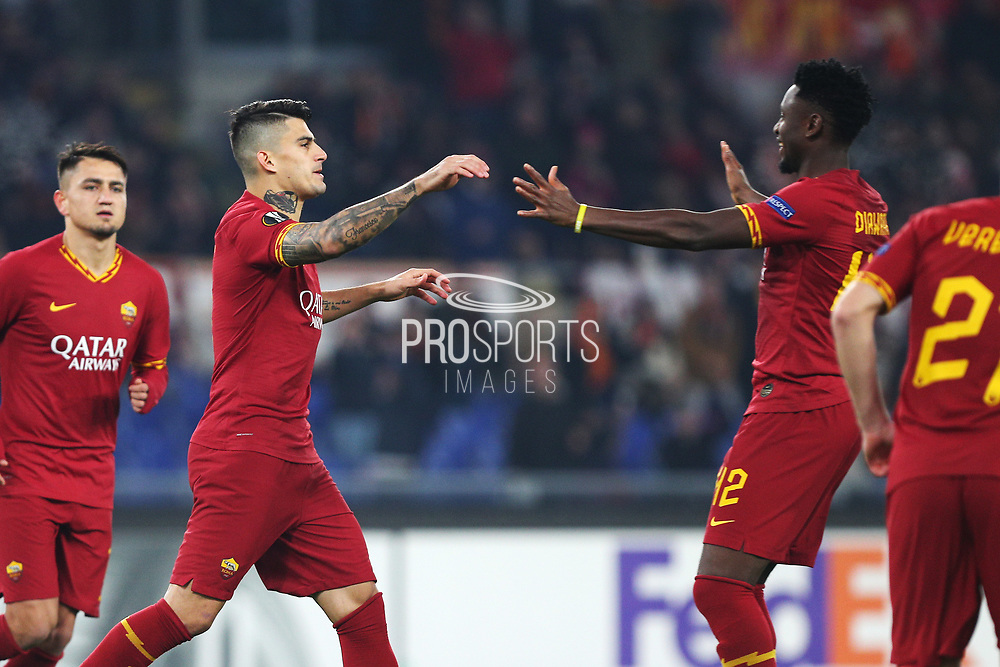 Diego Perotti of Roma celebrates with Amadou Diawara after scoring 1-0 goal during the UEFA Europa League, Group J football match between AS Roma and Wolfsberg AC on December 12, 2019 at Stadio Olimpico in Rome, Italy - Photo Federico Proietti / ProSportsImages / DPPI