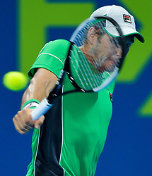 Dusan Lajovic of Serbia returns the ball to Marco Cecchinato of Italy during their Quarter - Final of ATP Qatar Open Tennis match at the Khalifa International Tennis Complex in Doha, capital of Qatar, on January 03, 2019. Marco Cecchinato won 2-0  (Credit Image: © Nikku/Xinhua via ZUMA Wire)