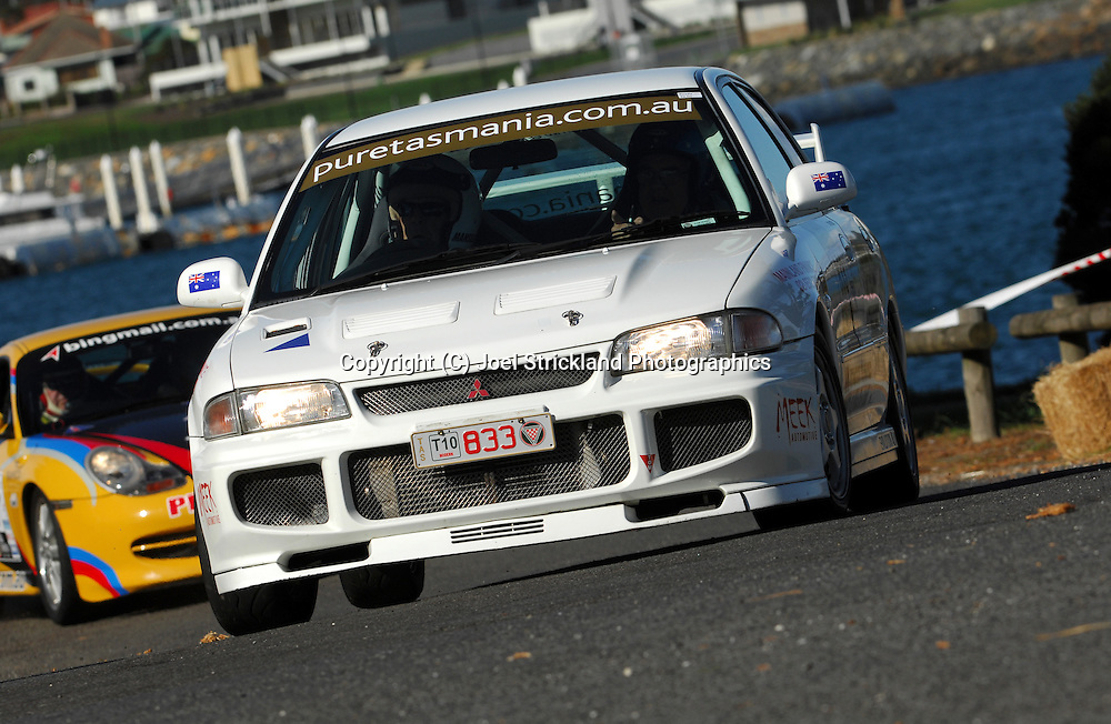 #833 - John Mansell & Hal Moloney - 1995 Mitsubishi Lancer Evolution III.Prologue.George Town.Targa Tasmania 2010.27th of April 2010.(C) Joel Strickland Photographics.Use information: This image is intended for Editorial use only (e.g. news or commentary, print or electronic). Any commercial or promotional use requires additional clearance.