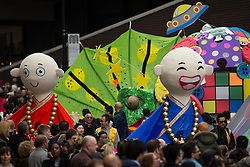"© Licensed to London News Pictures . 14/06/2015 . Manchester , UK . Manchester Day parade and festival through Manchester City Centre . A "" games "" theme featuring costumes , floats and gigantic puppets , built by community groups over several months , features . Photo credit : Joel Goodman/LNP"