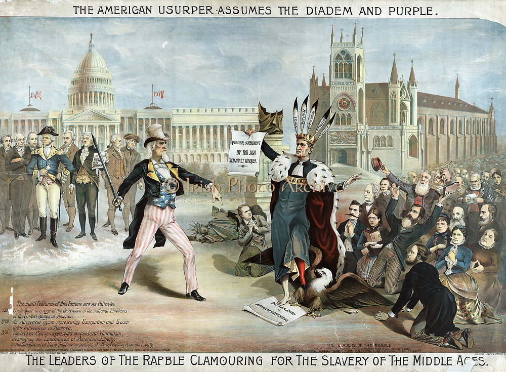 Separation of Church and State: The American Usurper Assumes the Diadem and Purple. Uncle Sam with Capitol and authors of Declaration of Independence behind him, confronting religious 'Rabble'  who want State  religion. USA