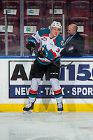 KELOWNA, CANADA - FEBRUARY 2: Dalton Gally #3 of the Kelowna Rockets warms up against the Kamloops Blazers  on February 2, 2019 at Prospera Place in Kelowna, British Columbia, Canada.  (Photo by Marissa Baecker/Shoot the Breeze)