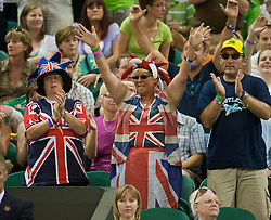 LONDON, ENGLAND - Monday, June 29, 2009: British fans cheer during the Gentlemen's Singles 4th Round match on day seven of the Wimbledon Lawn Tennis Championships at the All England Lawn Tennis and Croquet Club. (Pic by David Rawcliffe/Propaganda)
