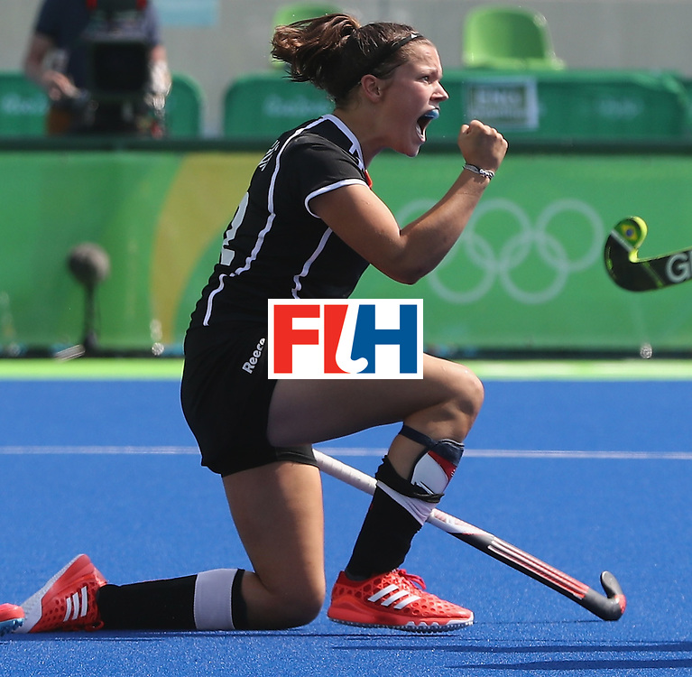 RIO DE JANEIRO, BRAZIL - AUGUST 19:  Charlotte Stapenhorst of Germany celerbates scoring the first goal during the Bronze medal match between Germany and New Zealand at the Rio 2016 Olympic Games held at the Olympic Hockey Centre on August 19, 2016 in Rio de Janeiro, Brazil.  (Photo by David Rogers/Getty Images)