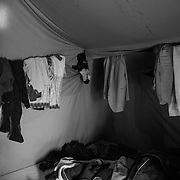 Inside one of the tents of the Ministero dell'Interno; in a tent should stay 6 people, but often 10/12 are sleeping there