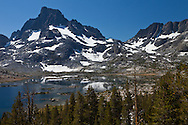 Banner Peak overlooks the long stretch of Thousand Island Lake, Ansel Adams Wilderness