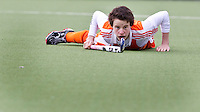 AERDENHOUT - 07-04-2012 - Jannis van Hattum, zaterdag tijdens de wedstrijd tussen Nederland Jongens A en Engeland Jongens A (3-4), tijdens het Volvo 4-Nations Tournament op de velden van Rood-Wit in Aerdenhout.