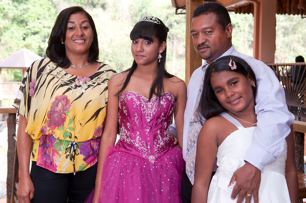 Family,Girls in ballroom dresses; Quinzeanera; Jarabacoa; La Vega; Dominican Republic; Caribbean