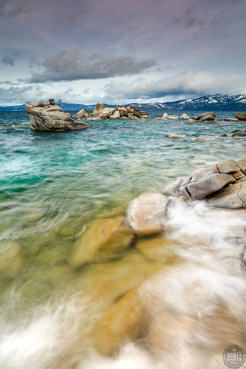 """Sunrise at Bonsai Rock 4"" - Photograph of Bonsai Rock on the east shore of Lake Tahoe, shot at sunrise."