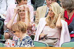 © Licensed to London News Pictures. 03/07/2018. London, UK.  Joely Richardson and Tess Daly watch centre court tennis in the royal box on the second day of the Wimbledon Tennis Championships 2018. Photo credit: Ray Tang/LNP