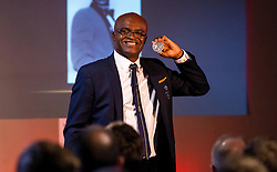 Kriss Akabusi shows off his Olympic Silver Medal at The Bristol Sport Big Breakfast - Mandatory by-line: Robbie Stephenson/JMP - 29/07/2016 - FOOTBALL - Ashton Gate - Bristol, England - Bristol Sport Big Breakfast - Kriss Akabusi