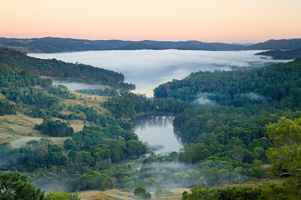 An early morning view of Baroon Pocket Dam from the top of the Blackall Range. A thick layer of fog was lying on the water making it as wintery a scene as you will find in south east Queensland.