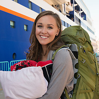 A student smiles during Embarkation day for the Semester at Sea Spring 2014 Voyage, in Ensenada, Mexico.
