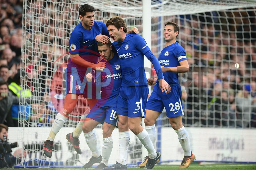 Eden Hazard of Chelsea celebrates with Marcos Alonso of Chelsea and Alvaro Morata of Chelsea - Mandatory by-line: Alex James/JMP - 02/12/2017 - FOOTBALL - Stamford Bridge - London, England - Chelsea v Newcastle United - Premier League