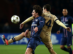 06.11.2012, Stade de Parc des Princes, Paris, FRA, UEFA CL, Paris St. Germain vs Dinamo Zagreb, Gruppe A, im Bild Sime Vrsaljko, Adrien Rabiot, // during UEFA Championsleague group A Match between Paris St. Germain and Dinamo Zagreb at the Stade de Parc des Princes, Paris, France on 2012/11/06. EXPA Pictures © 2012, PhotoCredit: EXPA/ Pixsell/ Marko Lukunic..***** ATTENTION - OUT OF CRO, SRB, MAZ, BIH and POL *****