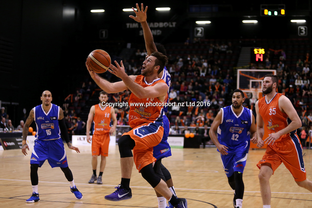 Mitch Norton of the Sharks attempts a shot in the NBL basketball match between the Southland Sharks and Wellington Saints, ILT Stadium Southland, Invercargill, Sunday, May 22, 2016. Photo: Dianne Manson / www.photosport.nz