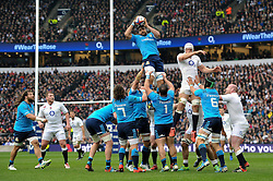 Marco Bortolami of Italy wins the ball at a lineout - Photo mandatory by-line: Patrick Khachfe/JMP - Mobile: 07966 386802 14/02/2015 - SPORT - RUGBY UNION - London - Twickenham Stadium - England v Italy - Six Nations Championship