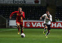 Pictured L-R: Gareth Bale of Wales chased by Markus Suttner of Austria. Wednesday 06 February 2013..Re: Vauxhall International Friendly, Wales v Austria at the Liberty Stadium, Swansea, south Wales.