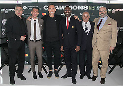 April 19, 2018 - Los Angeles, California, U.S - The 2018 International Champions Cup organizers announced the teams and schedule for the summer soccer tournament featuring top European clubs during a press conference on Thursday April 19, 2018 at OUE Skyspace LA in Los Angeles, California. (L-R) A.C. Milan legend; Daniele Massaro, Barcelona legend; Luis Garcia, NBA legend; Steve Nash, Manchester United legend; Andrew Cole, Tottenham Hotspur legend; Osvaldo Ardiles and Charlie Stillitano executive chairman of RELEVENT. (Credit Image: © Prensa Internacional via ZUMA Wire)