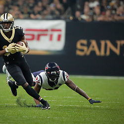 Sep 9, 2019; New Orleans, LA, USA; New Orleans Saints wide receiver Michael Thomas (13) runs past Houston Texans cornerback Lonnie Johnson (32) during the first quarter at the Mercedes-Benz Superdome. Mandatory Credit: Derick E. Hingle-USA TODAY Sports