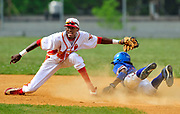 BRONX, NY - MAY 22, 2009: PSAL Baseball Playoffs, James Monroe High School vs. Lehman High School at James Monroe High School. Monroe's shortstop, Elias Todman tags out Lehman's #38- Frank Ulla trying to steal second base in the 5th inning during Monroe's 2-1 win over Lehman. Kmonicek, Kathy Freelance NYDN.