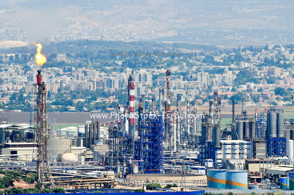 Israel, Haifa bay, View of the chimneys of the oil refinery. Haifa's industrial area is one of the largest sources of air pollution in the area, August 7, 2009.
