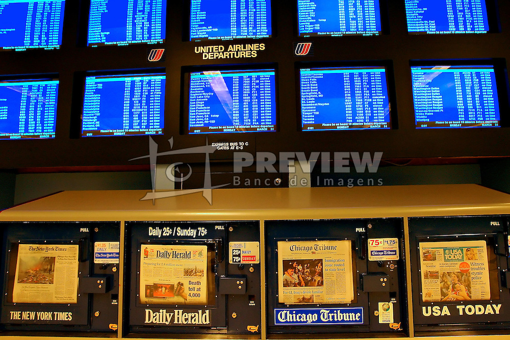 """""""Bancas"""" de jornal no aeroporto internacional de O'Hare, em Chicago. FOTO: Jefferson Bernardes/Preview.com"""