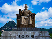 SEOUL, SOUTH KOREA: Statue of King Sejong in Seoul. King Sejong reigned from 1418 to 1450 and was considered one of the great Kings of Korea. He reinforced Confucian beliefs and invented the Hangul script.       PHOTO BY JACK KURTZ