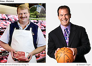 Portrait of butcher near meat counter.  Sportscaster, Paul Silvi, holding a basketball.