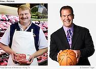 Portrait of butcher near meat counter.  Sportscaster, Paul Silvi, holding a basketball.