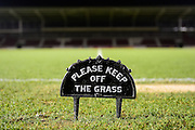 Please keep off the grass sign on the Sixfields pitch during the EFL Sky Bet League 1 match between Northampton Town and Swindon Town at Sixfields Stadium, Northampton, England on 14 February 2017. Photo by Dennis Goodwin.