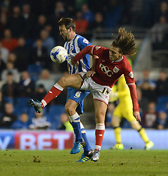 Luke Freeman of Bristol City is closed down by Dale Stephens of Brighton & Hove Albion - Mandatory byline: Dougie Allward/JMP - 07966 386802 - 20/10/2015 - FOOTBALL - American Express Community Stadium - Brighton, England - Brighton v Bristol City - Sky Bet Championship