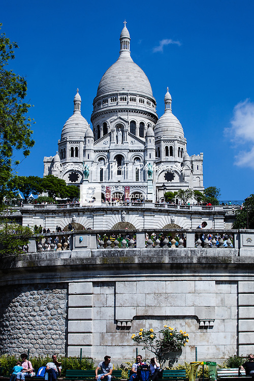 The Sacre Coeur photographed from the gardens at the bottom of the steps