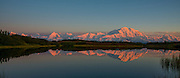 Sunset over Refection Pond in Denali National Park Alaska in August