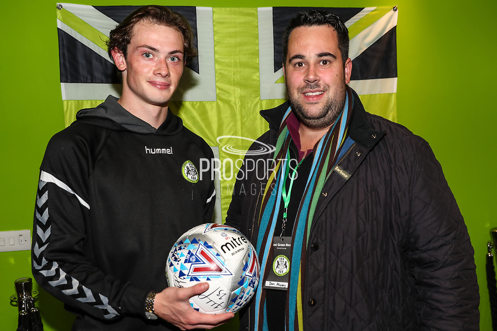 Matchball sponsors with man of the match Forest Green Rovers Theo Archibald(18) during the EFL Sky Bet League 2 match between Forest Green Rovers and Cheltenham Town at the New Lawn, Forest Green, United Kingdom on 20 October 2018.