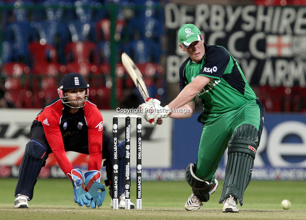 Ireland batsman Kevin O'Brien plays a shot against England during the ICC Cricket World Cup - 15th Match, Group B Ireland vs England Played at M Chinnaswamy Stadium, Bangalore, March 2011 - day/night (50-over match)
