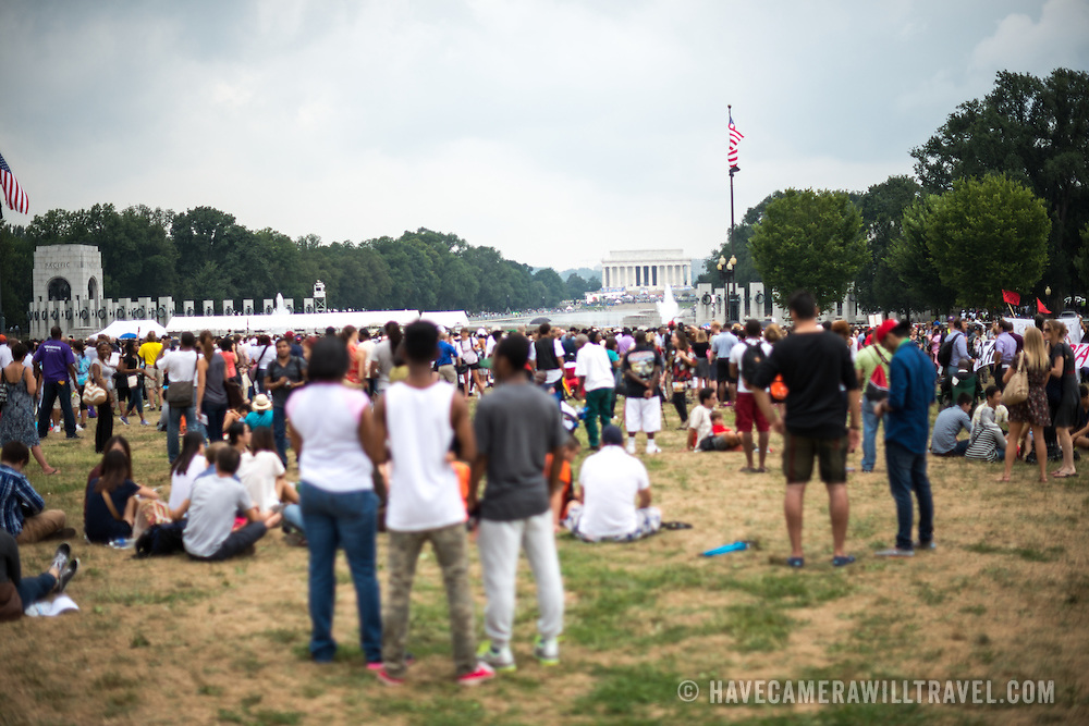 "Large crowds gathered on Washington DC's National Mall at the commemoration of the 50th anniversary of the 1963 March on Washington famously remembered for civil right leader Martin Luther King Jr's ""I Have a Dream"" speech."