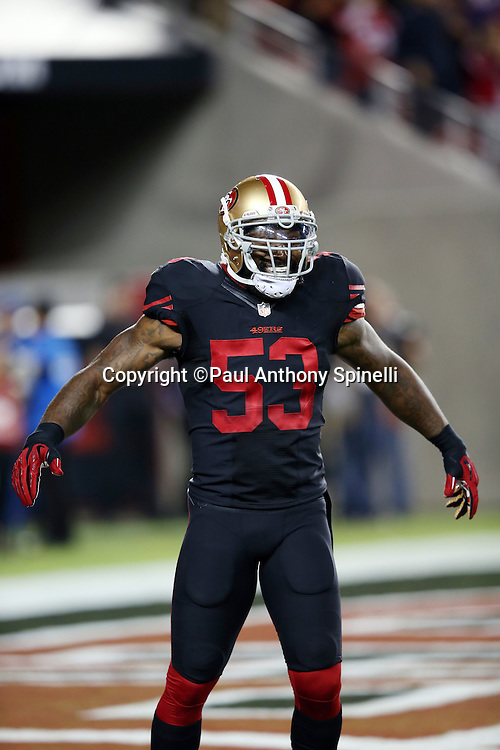 San Francisco 49ers inside linebacker NaVorro Bowman (53) pumps his arms during the 2015 NFL week 1 regular season football game against the Minnesota Vikings on Monday, Sept. 14, 2015 in Santa Clara, Calif. The 49ers won the game 20-3. (©Paul Anthony Spinelli)