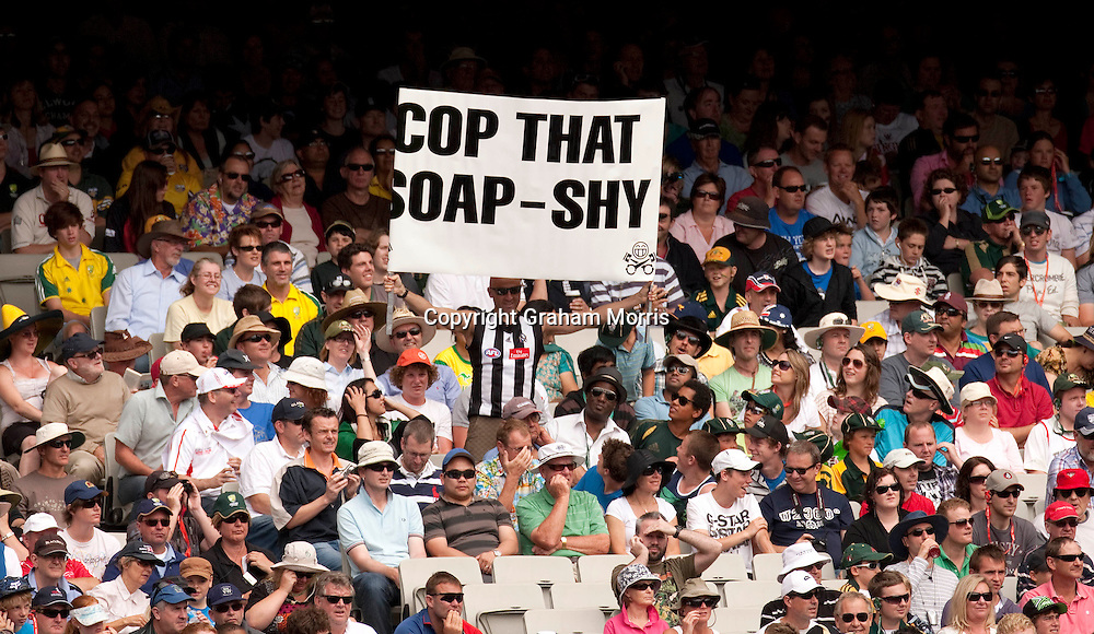 An anti-Pom banner during the fourth Ashes test match between Australia and England at the MCG in Melbourne, Australia. Photo: Graham Morris (Tel: +44(0)20 8969 4192 Email: sales@cricketpix.com) 26/12/10