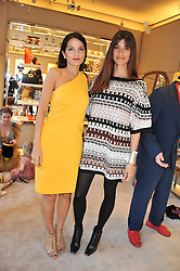 Left to right, YASMIN MILLS and LISA BILTON at a fun filled tea party hosted by Roger Vivier to view their Jeune Fille collection of shoes in aid of Mothers4Children held at Roger Vivier, Sloane Street, London on 27th March 2012.