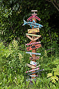 Signs for the Kilcher Homestead in remote Fritz Creek, Alaska. The Kilchers are original homesteaders and starts of the reality television show Alaska the Last Frontier show.
