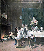 Waiting: Four children and the family dog waiting patiently for their Christmas dinner to be cooked on the spit in front of the fire. Illustration from 'Le Petit Journal',  Paris, 27 December 1890. Food, Cooking, Roasting, Family