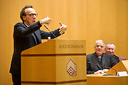 Vatican City jan 12th 2016, presentation of the book ' The name of God is Misery ' an interview to Pope Francis. In the picture the actor Roberto Benigni, Federico Lombardi, director of Holy See press office, and Card. Pietro Parolin, vatican state secretary