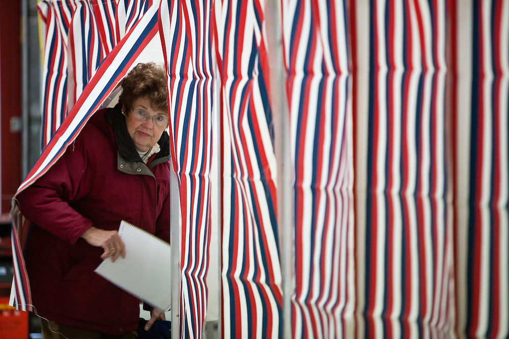 Gail Gagnon emerges from a voting booth after casting her ballot in the New Hampshire Primary at the Grafton Fire Station on Tuesday, January 10, 2012 in Grafton, NH. Brendan Hoffman for the New York Times