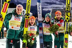 02.03.2019, Seefeld, AUT, FIS Weltmeisterschaften Ski Nordisch, Seefeld 2019, Skisprung, Mixed Team Bewerb, Flower Zeremonie, im Bild Karl Geiger (GER), Katharina Althaus (GER), Juliane Seyfarth (GER), Markus Eisenbichler (GER) // Karl Geiger of Germany Katharina Althaus of Germany Juliane Seyfarth of Germany Markus Eisenbichler of Germany during the Flower Zeremonie for the mixed team competition in ski jumping of nordic combination of FIS Nordic Ski World Championships 2019. Seefeld, Austria on 2019/03/02. EXPA Pictures © 2019, PhotoCredit: EXPA/ Stefanie Oberhauser