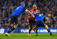 Rugby Union - 2017 / 2018 European Rugby Champions Cup - Pool Three: Leinster vs. Exeter Chiefs<br /> <br /> Exeter's Olly Woodburn in action against Leinster's Luke McGrath and Scott Fardy, at Aviva Stadium, Dublin.<br /> <br /> COLORSPORT/KEN SUTTON