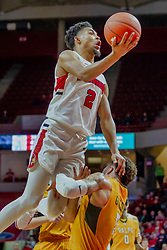 NORMAL, IL - February 05: Zach Copeland heads for the hoop before Markus Golder can get set, Zach Copeland collects the and 1 during a college basketball game between the ISU Redbirds and the Valparaiso Crusaders on February 05 2019 at Redbird Arena in Normal, IL. (Photo by Alan Look)